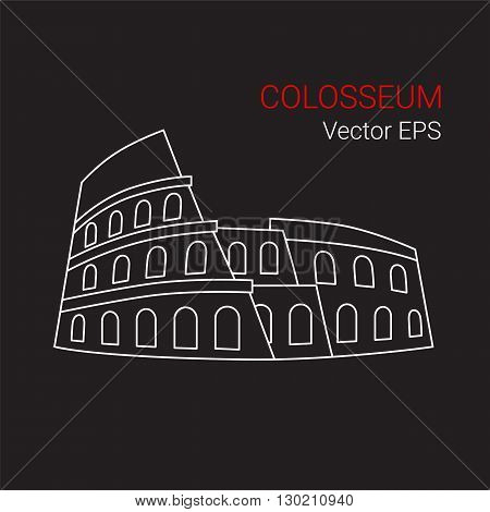 Vector Line Icon of Colosseum, Rome, Italy.