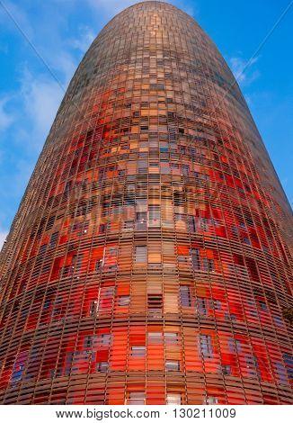 Agbar Colorful Tower. Modern skyscraper in Barcelona
