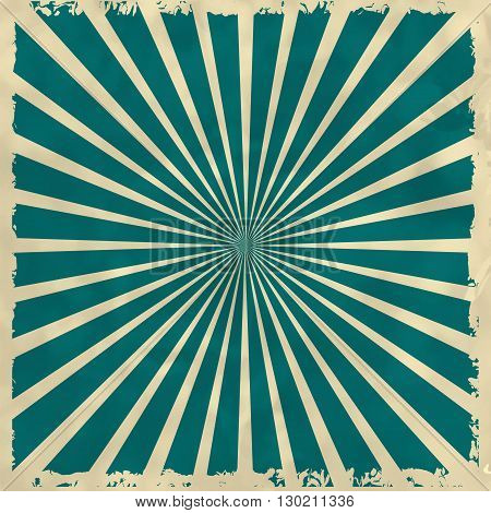 Retro Background With Green Radial Rays