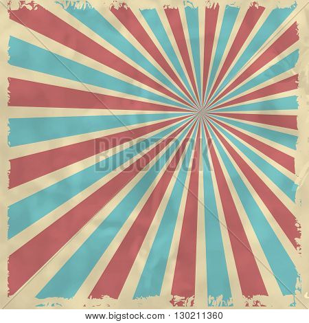Retro Background With Blue And Red Radial Rays