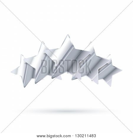 Five glossy silver rating stars with shadow isolated on white