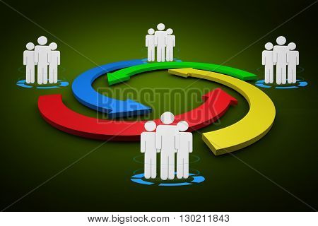 Digital diagram of people turnover against green background with vignette