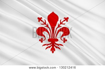 Flag of Florence is the capital city of the Italian region of Tuscany and of the Metropolitan City of Florence
