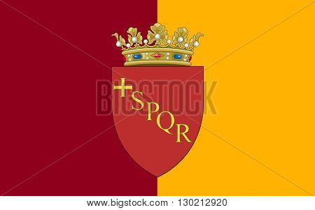 Flag of Rome is a city and special comune in Italy. Rome is the capital of Italy and of the Lazio region.