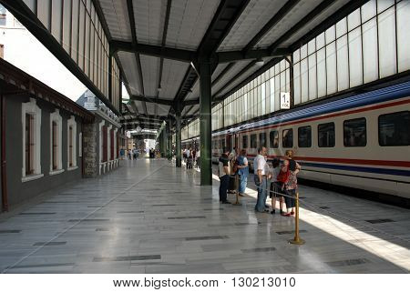 ANKARA/TURKEY-JULY 6, 2008: Passengers at the State Railways of the Turkish Republic-TCDD's main station. July 6,2008-Ankara/Turkey
