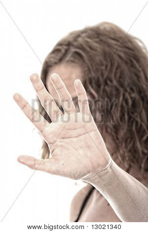 Abused young woman dramatic portrait