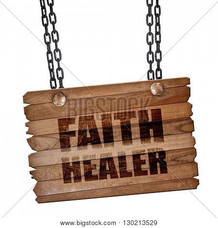 faith healer, 3D rendering, wooden board on a grunge chain