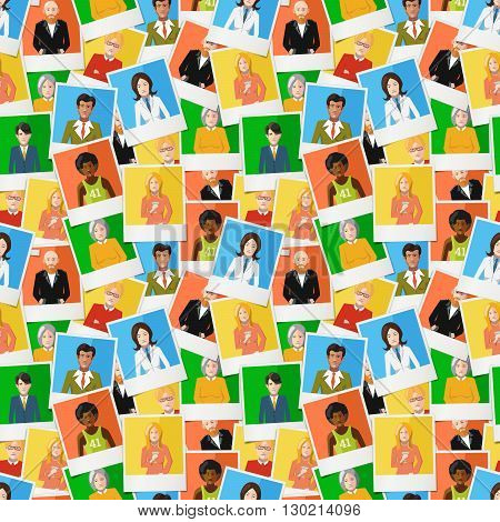 A lot of different instant photos with flat portraits of people on colourful backgrounds seamless pattern