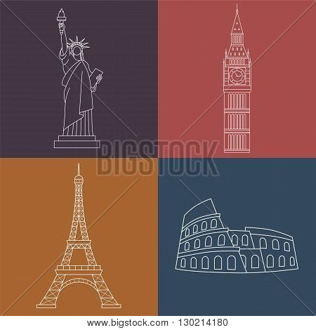 World Landmarks Statue of liberty, Eiffel Tower, Big Ben, Colosseum. Vector line icons set.