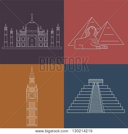 World Landmarks Taj Mahal, Sphinx, Big Ben, Chichen Itza. Vector line icons set.