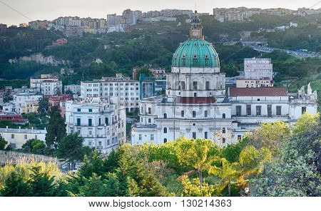 The Buon Consiglio church in Naples imitation of St. Peter in the Vatican. In backgroud the Vomero Hill