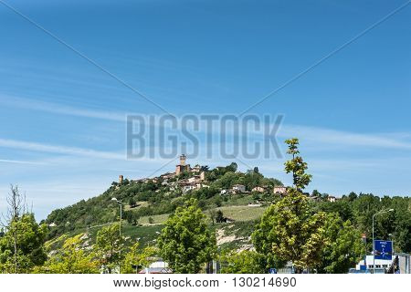 Langhe,Italy,Europe - May 3, 2016 : View of the village of Santa Vittoria di Alba on the top of the hill