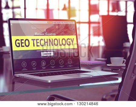 Geo Technology Concept Closeup on Laptop Screen in Modern Office Workplace. Toned Image with Selective Focus. 3D Render.