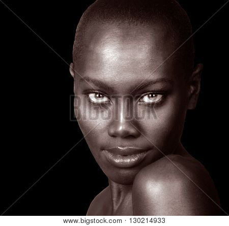 Beautiful Image of a Afro American Woman Isolated On Black