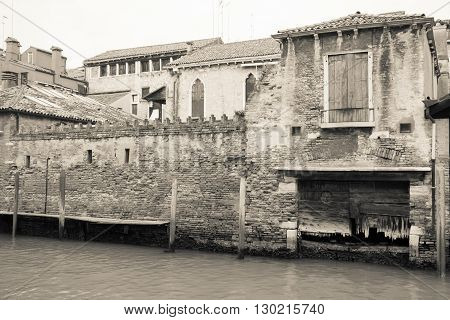 vintage city structures and ancient constructions of old Venice for an architectural background in retro style