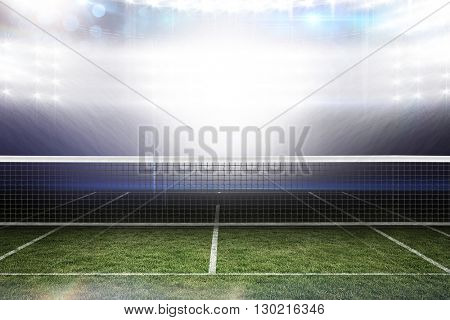 Digital image of tennis net on a white background against american football arena
