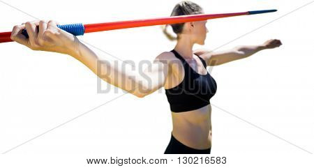 Close up composition image of sportswoman hand holding a javelin