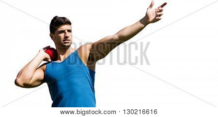 Front view of sportsman practising shot put