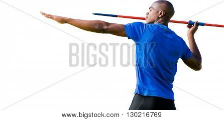 Profile view of sportsman practising javelin throw