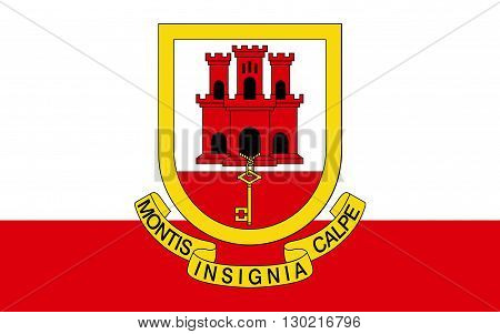 Flag of Gibraltar is a British Overseas Territory located on the southern end of the Iberian peninsula