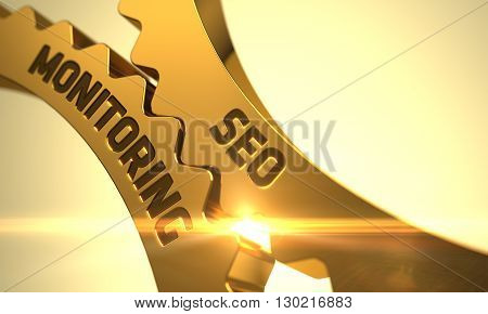 SEO Monitoring Golden Metallic Cog Gears. SEO Monitoring on Mechanism of Golden Gears. SEO Monitoring on Mechanism of Golden Gears with Glow Effect. SEO Monitoring on Golden Metallic Cog Gears. 3D.