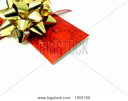 Gold Bow With Red Card
