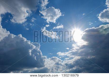 Clear Weather Sky, Sun On Blue Sky With Clouds, Sun Rays
