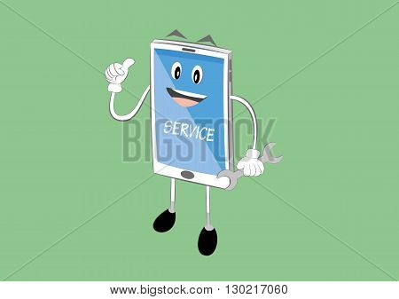 vector illustration of smartphone mobile cartoon character holding wrench. online repair service concept. eps 10