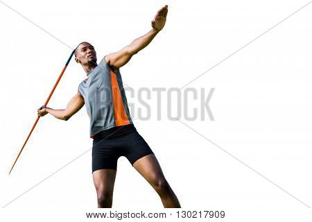 Athlete man throwing a javelin