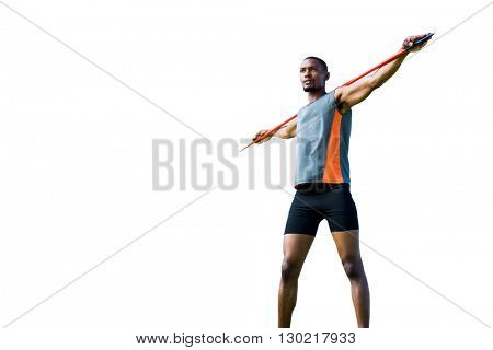 Low angle view of athletic man holding his javelin