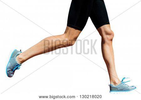 Close up of sportswoman legs is running
