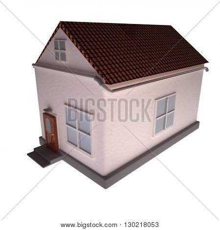House isolated over white background 3d rendering