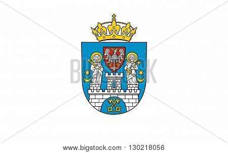 Flag of Poznan is a city on the Warta river in west-central Poland in Greater Poland region