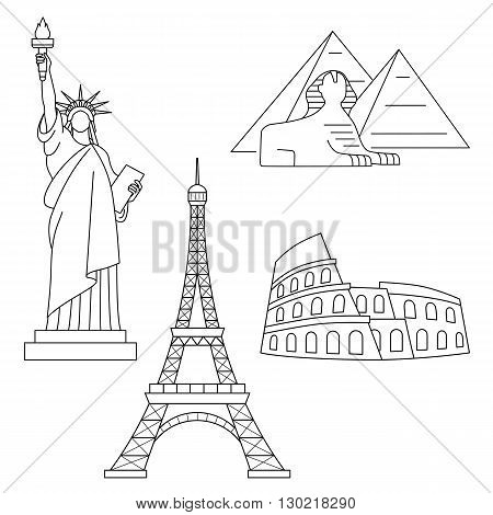 World Landmarks, Eiffel Tower, Statue of liberty, Sphinx, Colosseum. Vector line icons set.