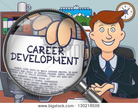Businessman Holds Out a Concept on Paper Career Development. Closeup View through Lens. Multicolor Modern Line Illustration in Doodle Style.