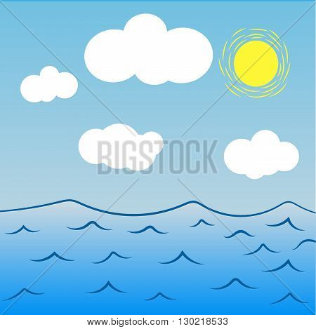 Vector illustration of sea and ocean hand drawn elements on squared paper eps 10