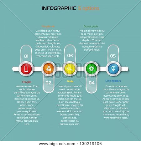 Structure timeline with business icons.5 Steps horizontal timeline template or graphic or website layout. Vector. bright colors. red orange yellow green blue
