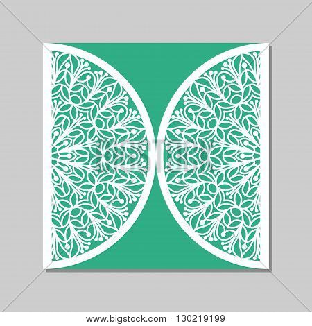 Wedding invitation or greeting card with mandala lace ornament. Paper lace envelope. Wedding invitation envelope template for laser cutting. Vector illustration.