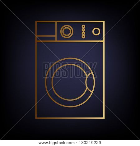 Washing machine sign. Golden style icon on dark blue background.