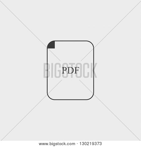 PDF icon in black color. Vector illustration eps10