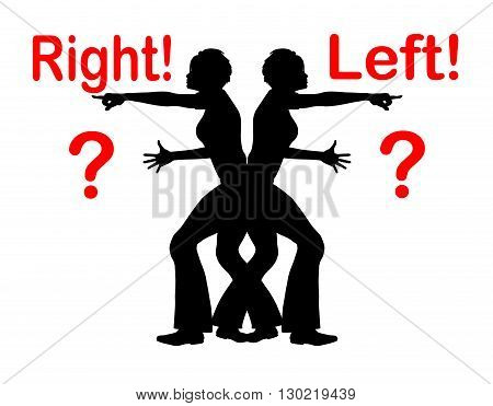 Confusing Right and Left. Woman with problems to identify right from left
