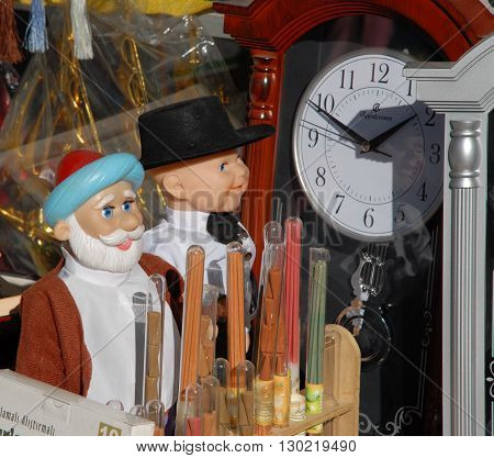 ANKARA/TURKEY-AUGUST 3, 2008: Toys and the clock at the shop's display. August 3, 2008-Ankara/Turkey