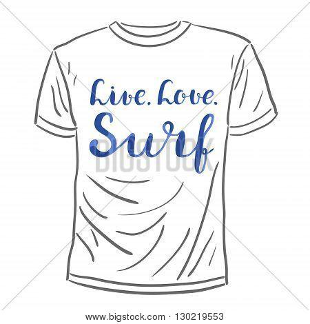 Live. Love. Surf. Brush Hand Lettering.