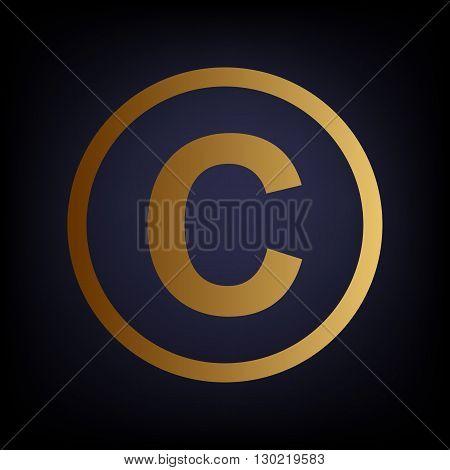 Copyright sign. Golden style icon on dark blue background.