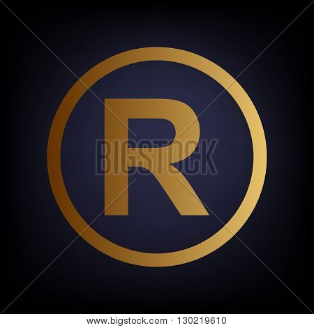 Registered Trademark sign. Golden style icon on dark blue background.