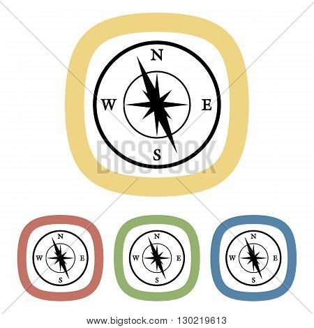 Vector colorful compass icon an a orange background