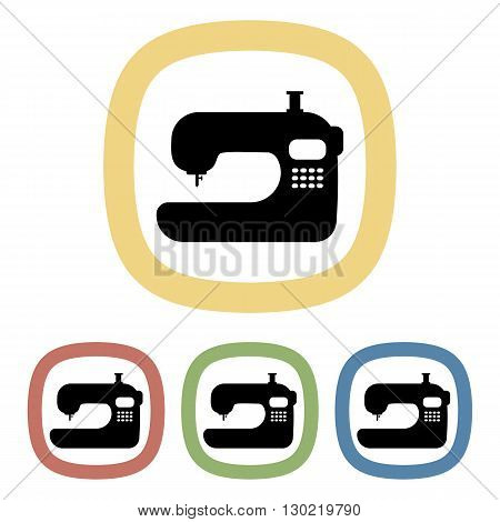 Sewing machine colorful icon. Vector illustration of sewing machine  set