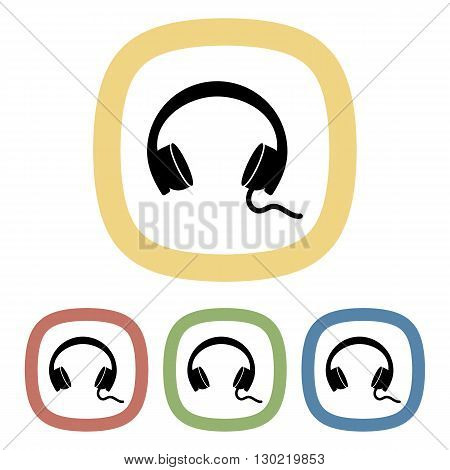Headphones colorful icon. Vector illustration of headphones set