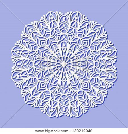 Beautiful mandala lace ornament on purple background for cards or invitations. Mandala lace round element. Vector illustration