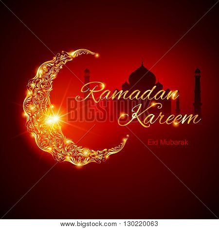 Glowing ornate crescent with mosque and bright flare. Illustration in red shades. Greeting card of holy Muslim month Ramadan
